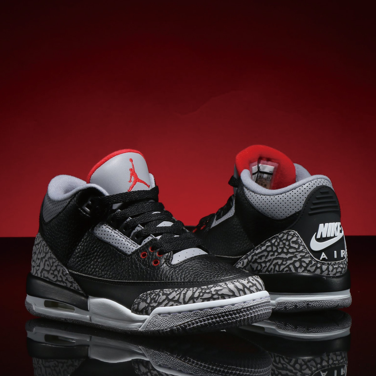 NIKE AIR JORDAN 3 RETRO OG BG (ナイキ エア ジョーダン 3 レトロ OG BG) BLACK/FIRE RED-CEMENT GREY-WHITE【ボーイズ スニーカー】18SP-S