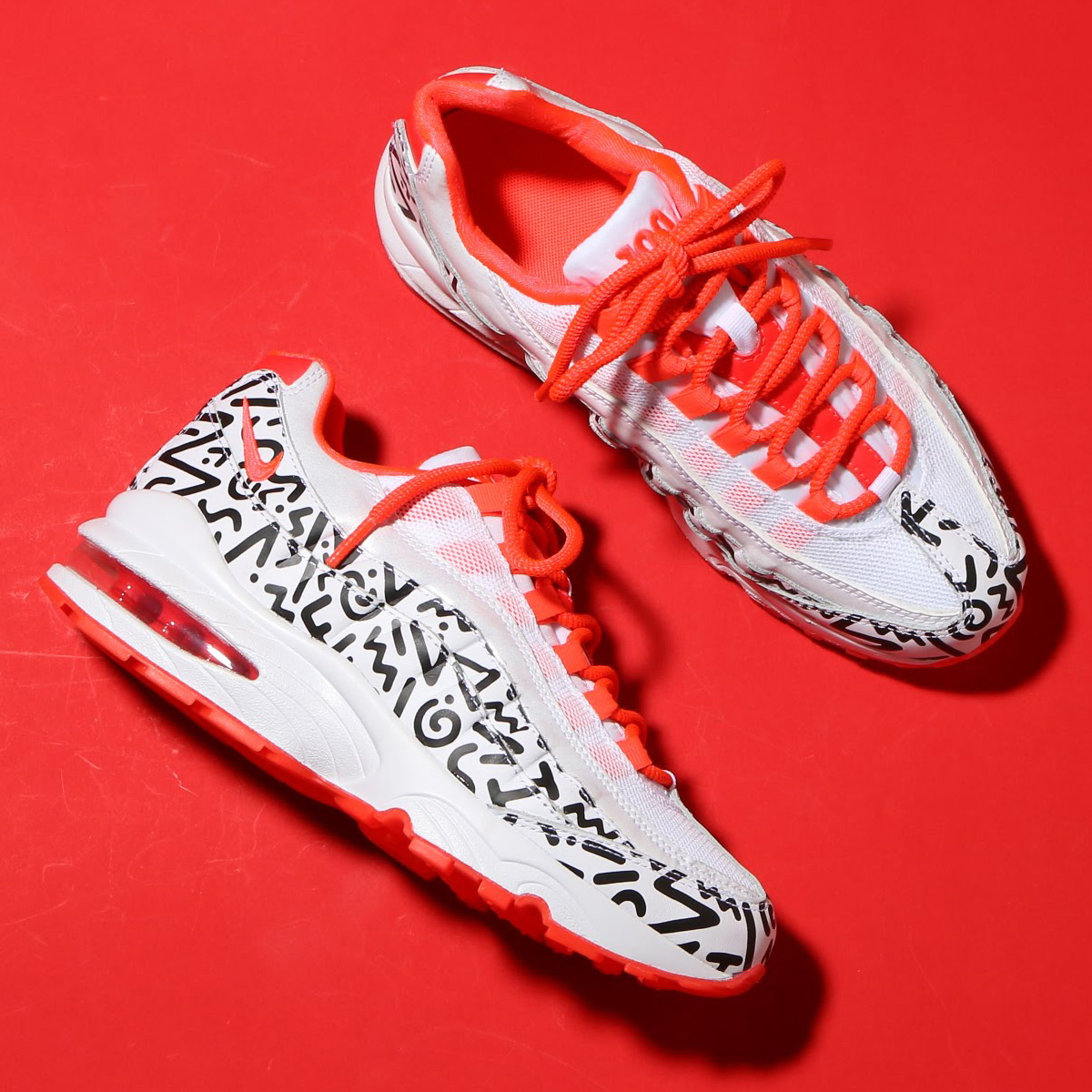 NIKE AIR MAX 95 QS (GS) (ナイキ エア マックス 95 QS GS) WHITE/WHITE-BLACK-BRIGHT CRIMSON【ガールズ スニーカー】18SP-S