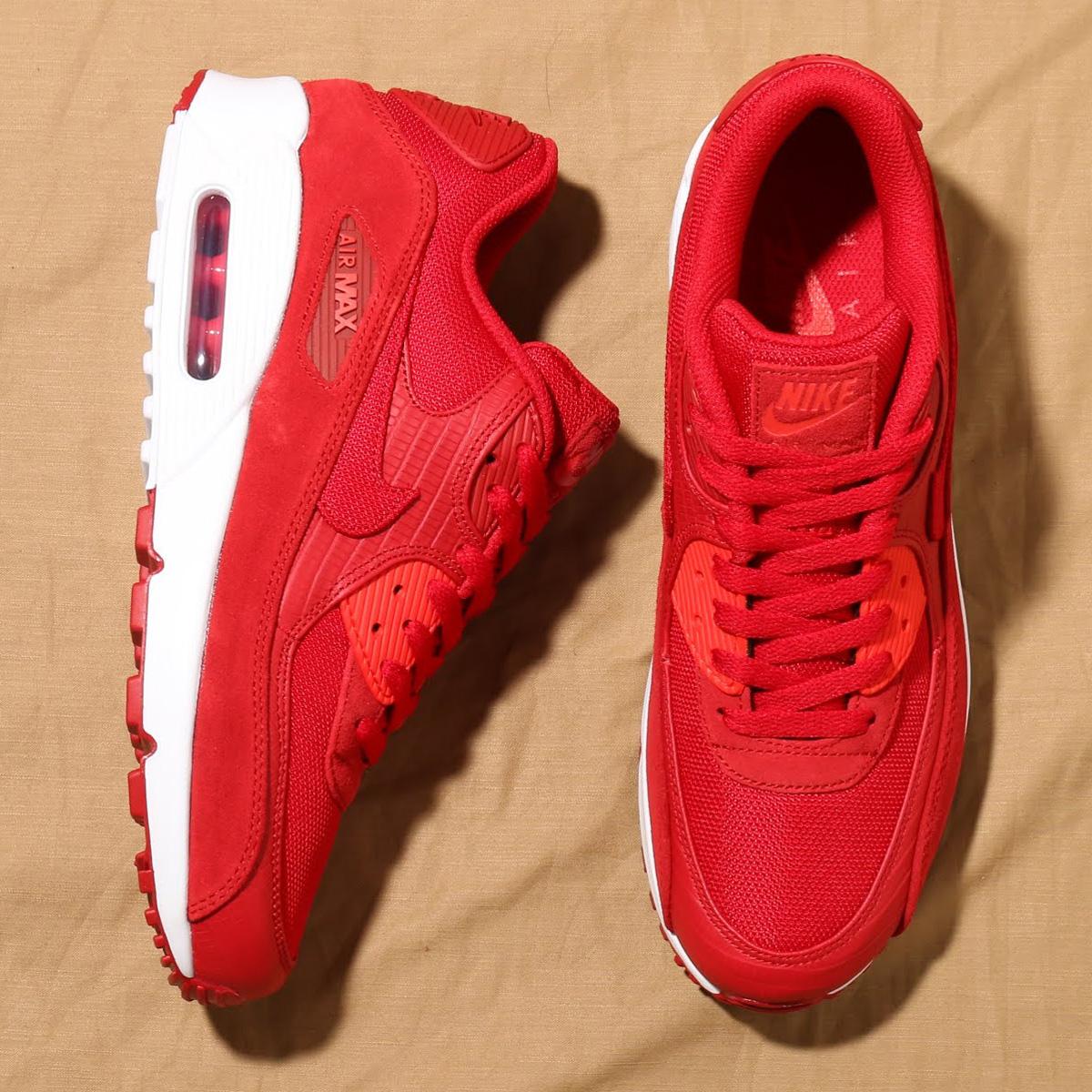 NIKE AIR MAX 90 PREMIUM (ナイキ エア マックス 90 プレミアム) GYM RED/GYM RED-WHITE-HABANERO RED【メンズ スニーカー】18SU-S