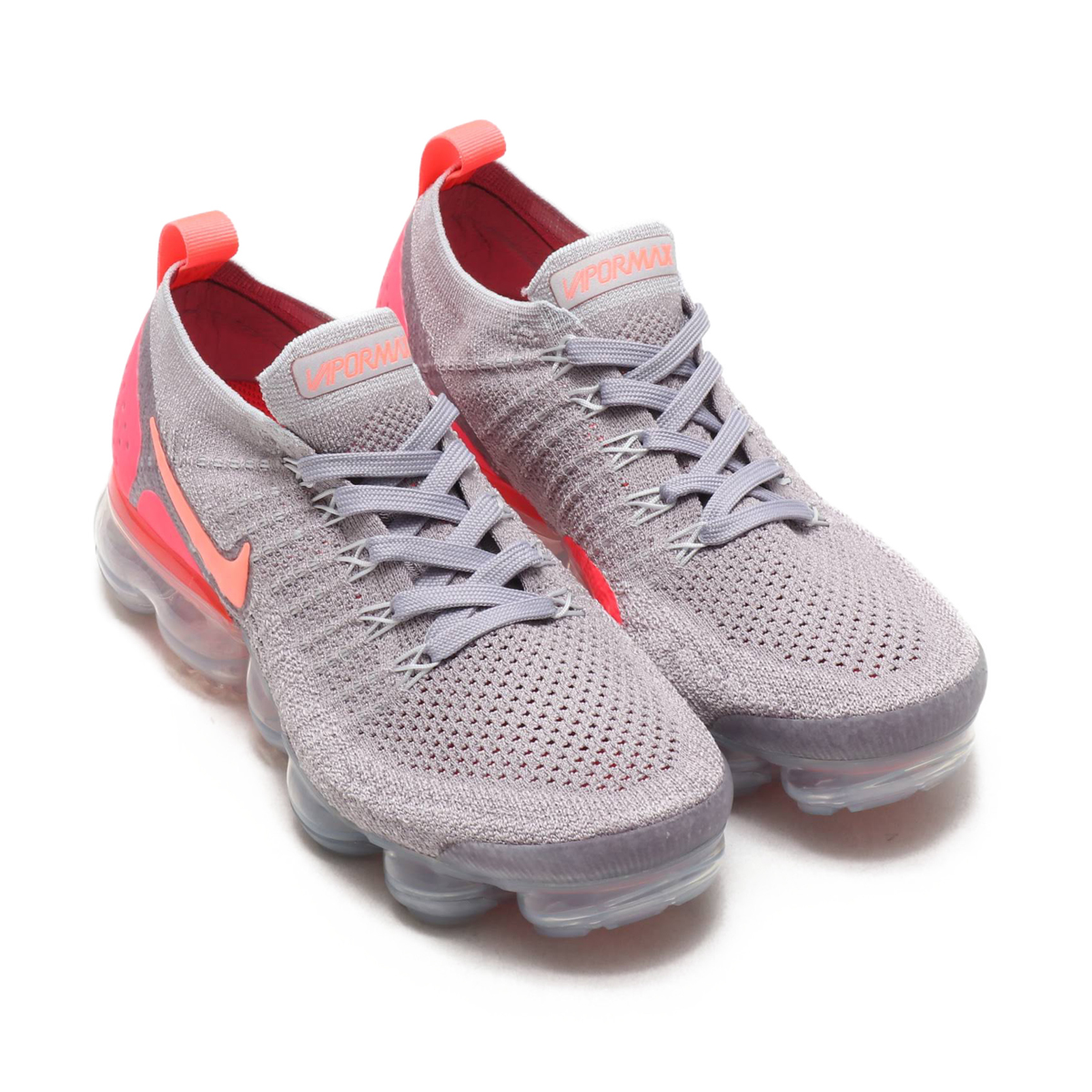 half off ba74c c7717 NIKE W AIR VAPORMAX FLYKNIT 2 (Nike women air vapor max fried food knit 2)  ATMOSPHERE GREY/CRIMSON PULSE 18SS-S