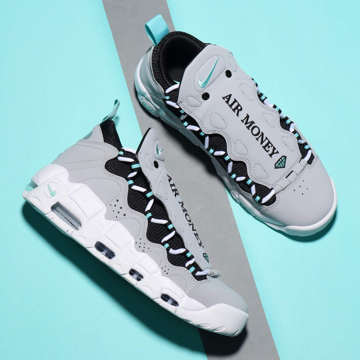 NIKE AIR MORE MONEY (ナイキ エア モア マネー) WOLF GREY/ISLAND GREEN-BLACK【メンズ スニーカー】18SU-S