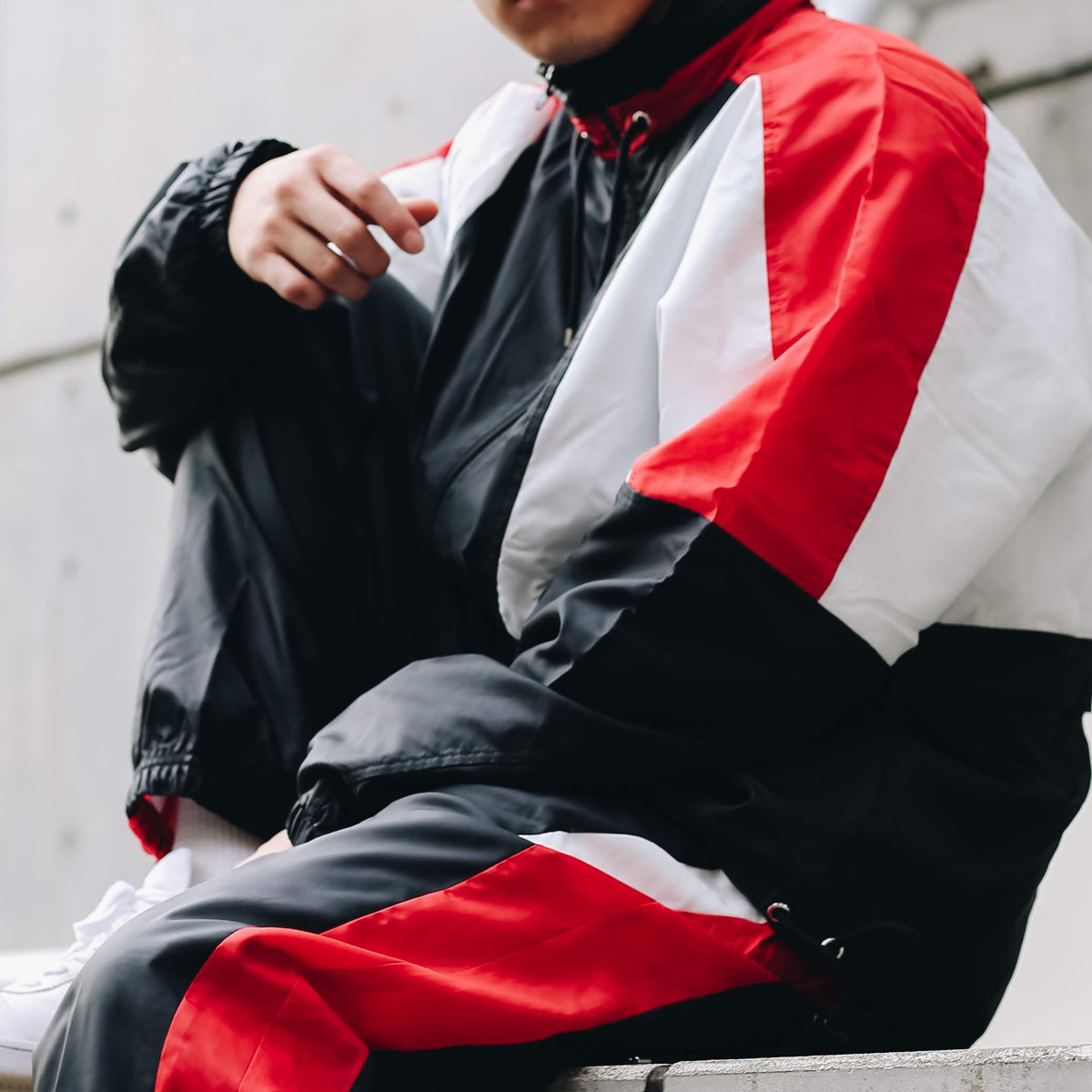 NIKE AS M NSW RE-ISSUE JKT WVN(ナイキ リ イシュー ウーブン ジャケット)BLACK/UNIVERSITY RED/SUMMIT WHITE/BLACK【メンズ ジャケット】18HO-I