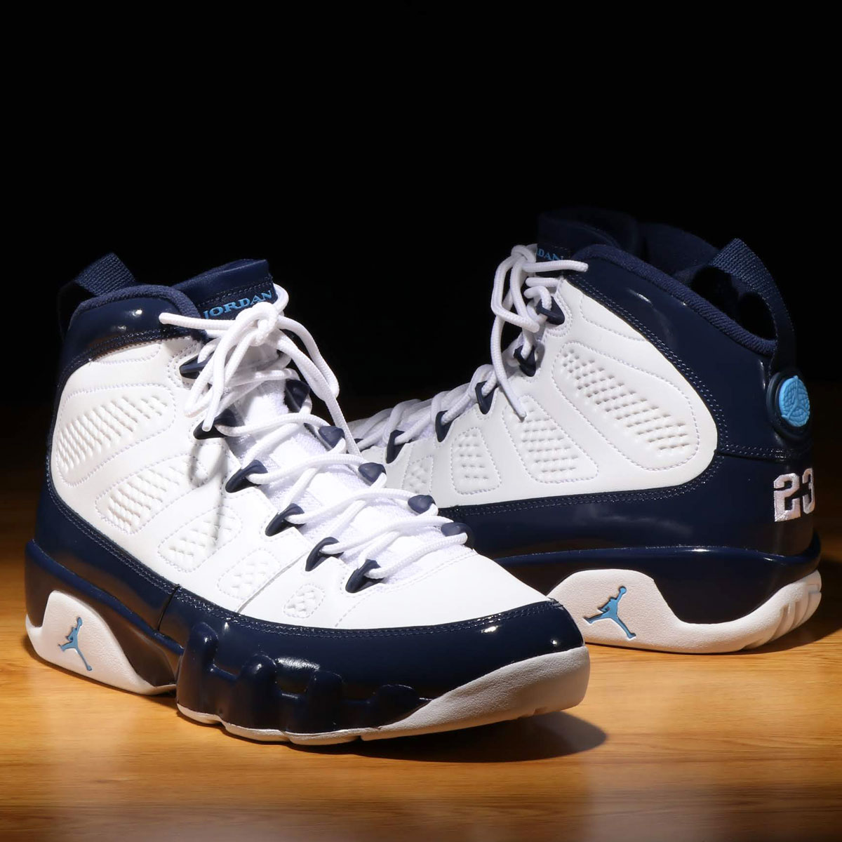 NIKE AIR JORDAN 9 RETRO (ナイキ エア ジョーダン 9 レトロ)WHITE/UNIVERSITY BLUE-MIDNIGHT NAVY【メンズ スニーカー】19SP-I