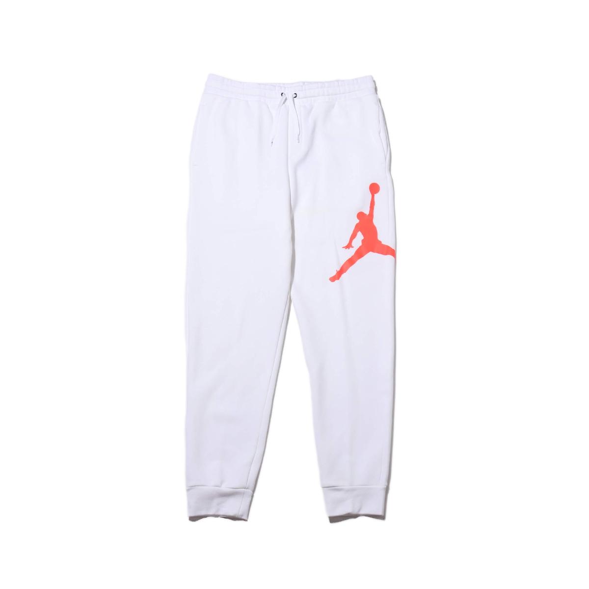 NIKE M J JUMPMAN LOGO FLC PANT(ナイキ ジョーダン ジャンプマン ロゴ フリース パンツ)WHITE/INFRARED 23【メンズ パンツ】19HO-I
