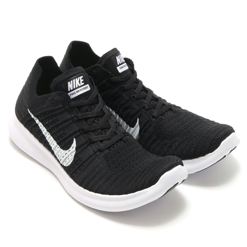 nike free rn flyknit black and white
