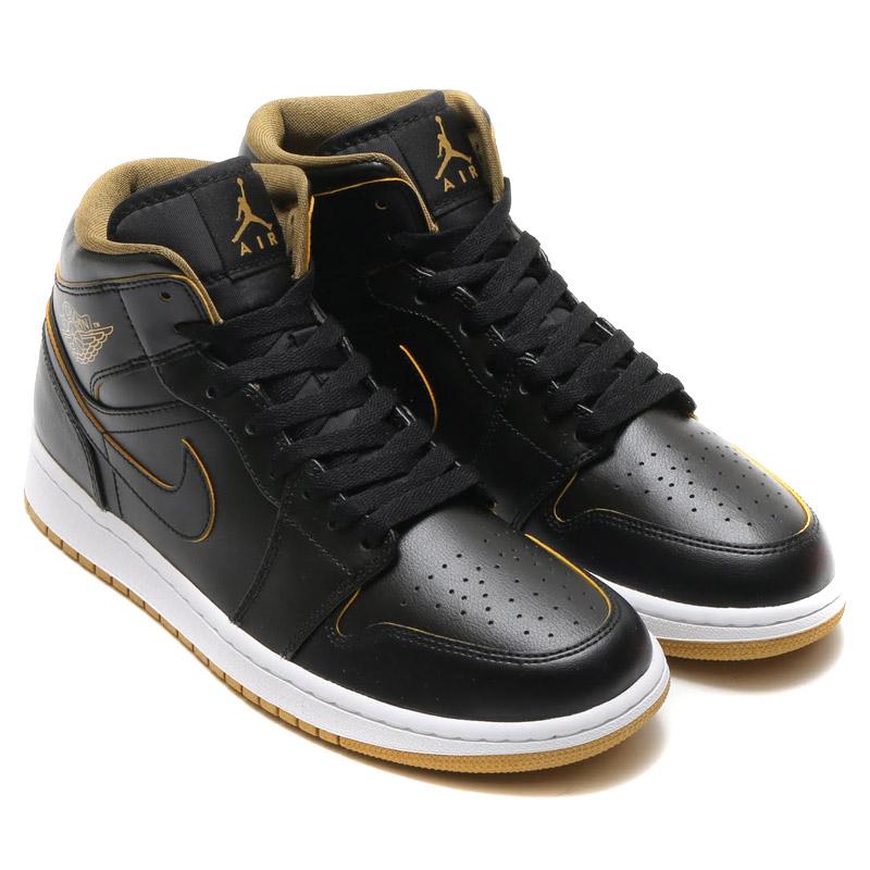 f5e607b541dea NIKE AIR JORDAN 1 MID (Nike Air Jordan 1 mid) BLACK METALLIC GOLD-WHITE  16SU-I