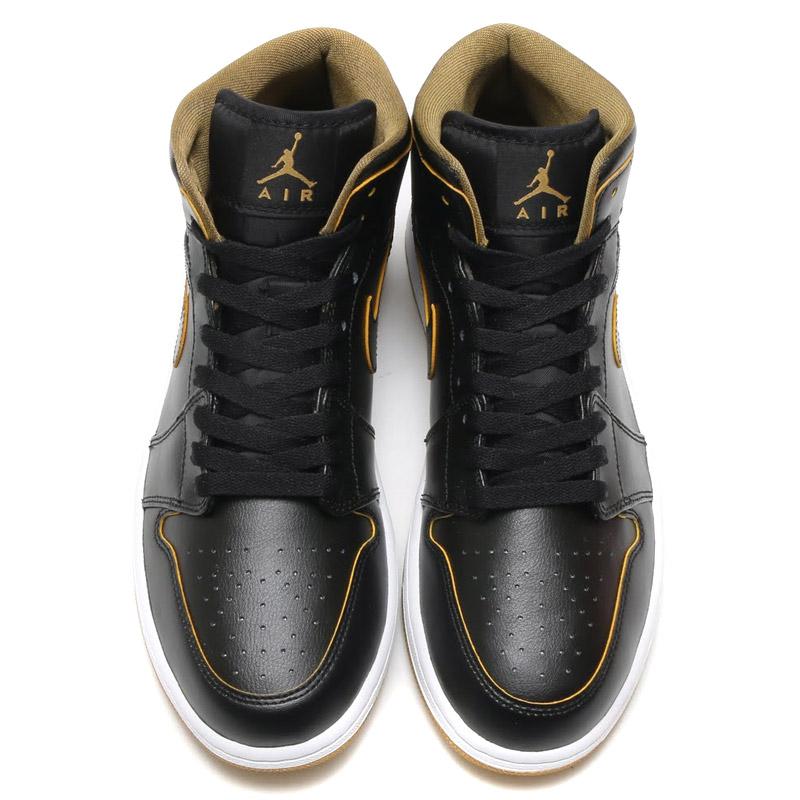 the latest 93276 3d148 NIKE AIR JORDAN 1 MID (Nike Air Jordan 1 mid) BLACK METALLIC GOLD-WHITE  16SU-I