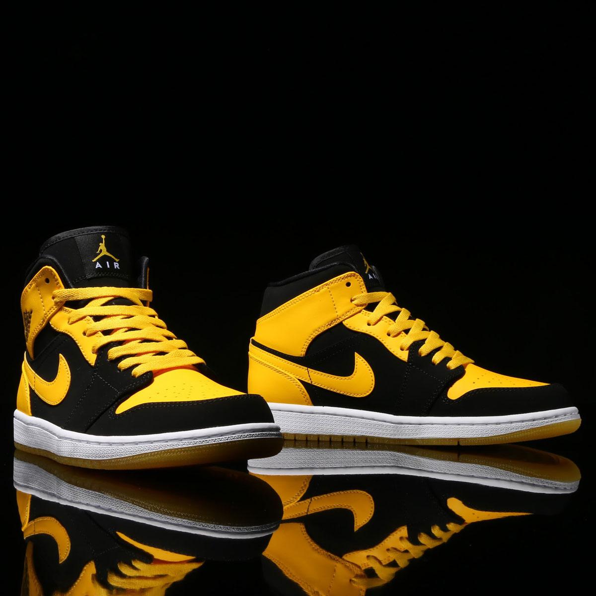 969f9d1876dd NIKE AIR JORDAN 1 MID (Nike Air Jordan 1 mid) BLACK VARSITY MAIZE-WHITE  17SU-S