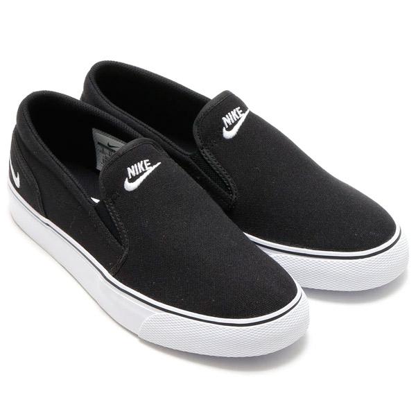 NIKE WMNS TOKI SLIP CANVAS (Nike women Toki slip canvas) BLACK/WHITE CRYOVR