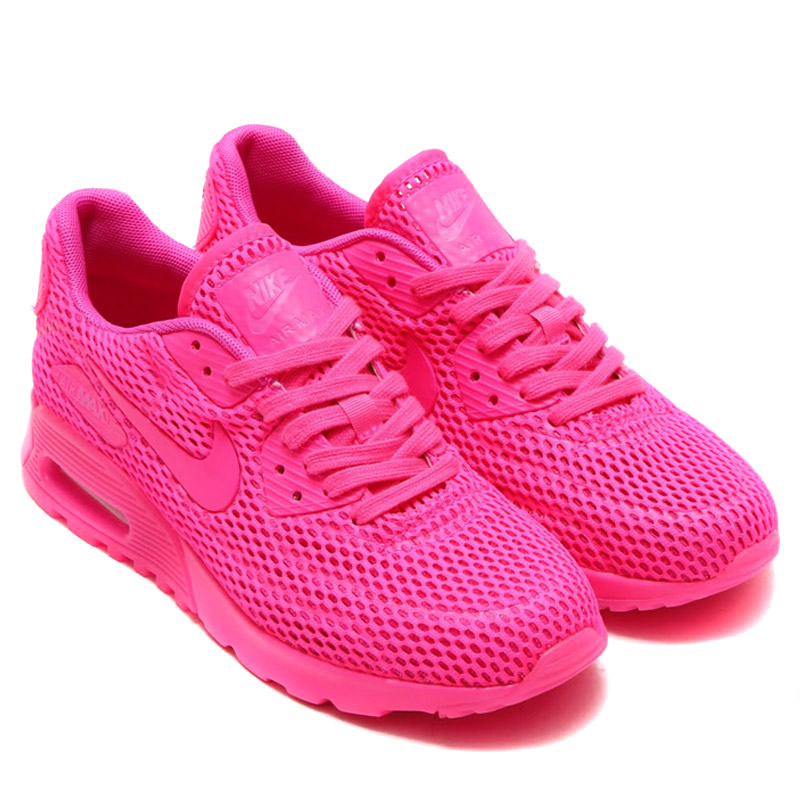 NIKE WMNS AIR MAX 90 ULTRA BR (Nike women s Air Max 90 ultra Breeze) PINK  BLAST FIRE PINK 16SU-I ee0df30d91