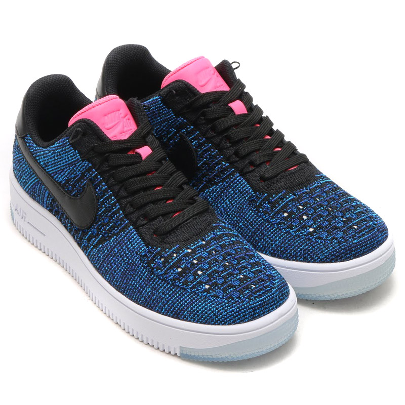 NIKE WMNS AF1 FLYKNIT LOW (flint Nike wmns AF1 low) BLACK BLACK-DEEP ROYAL  BLUE-DIGITAL PINK-PHOTO BLUE-WHITE 16FA-I 403bb1240480