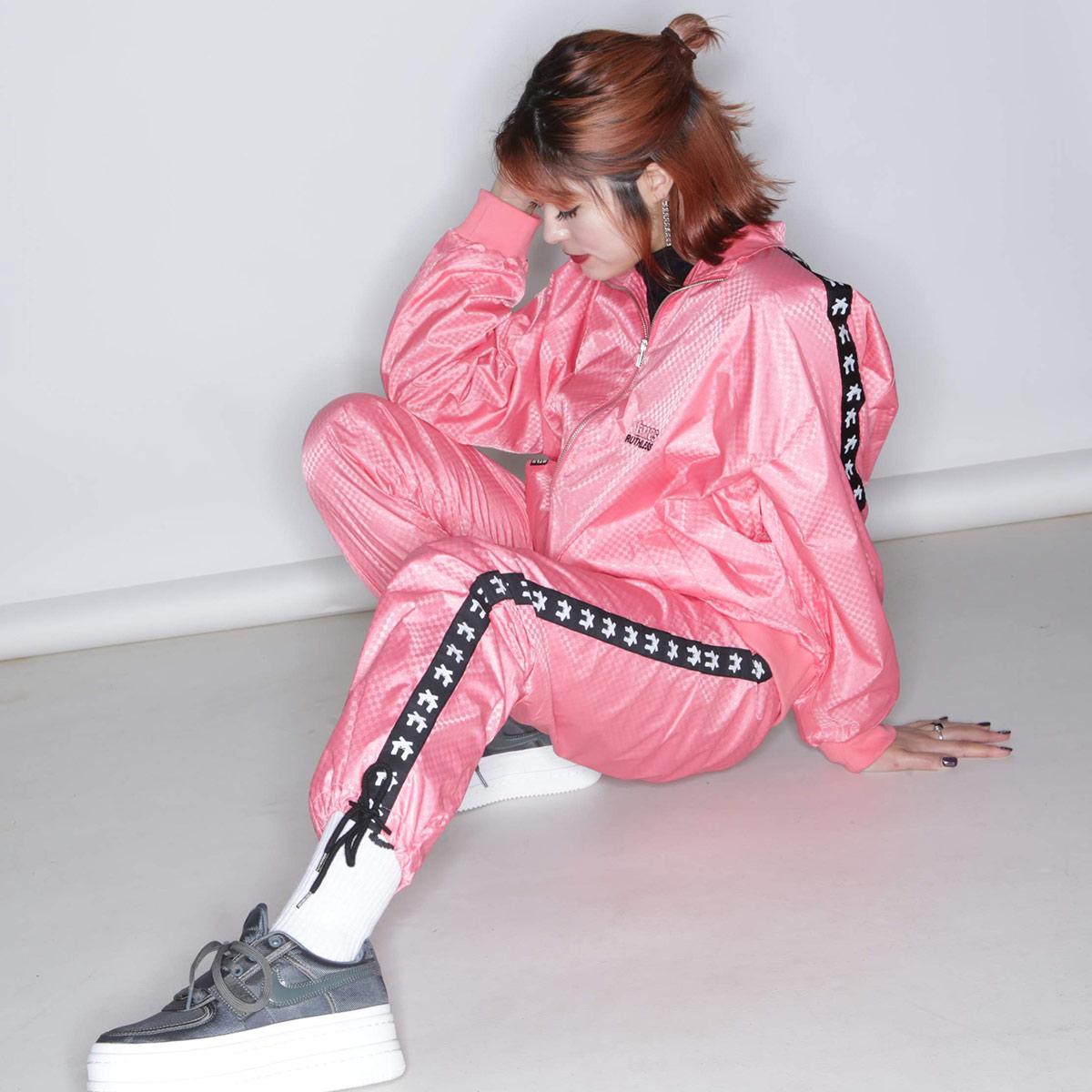 RUTHLESS × atmos pink TRACK PANTS (ルスリス × アトモス ピンク トラック パンツ)PEACH【レディース ロングパンツ】18FA-I