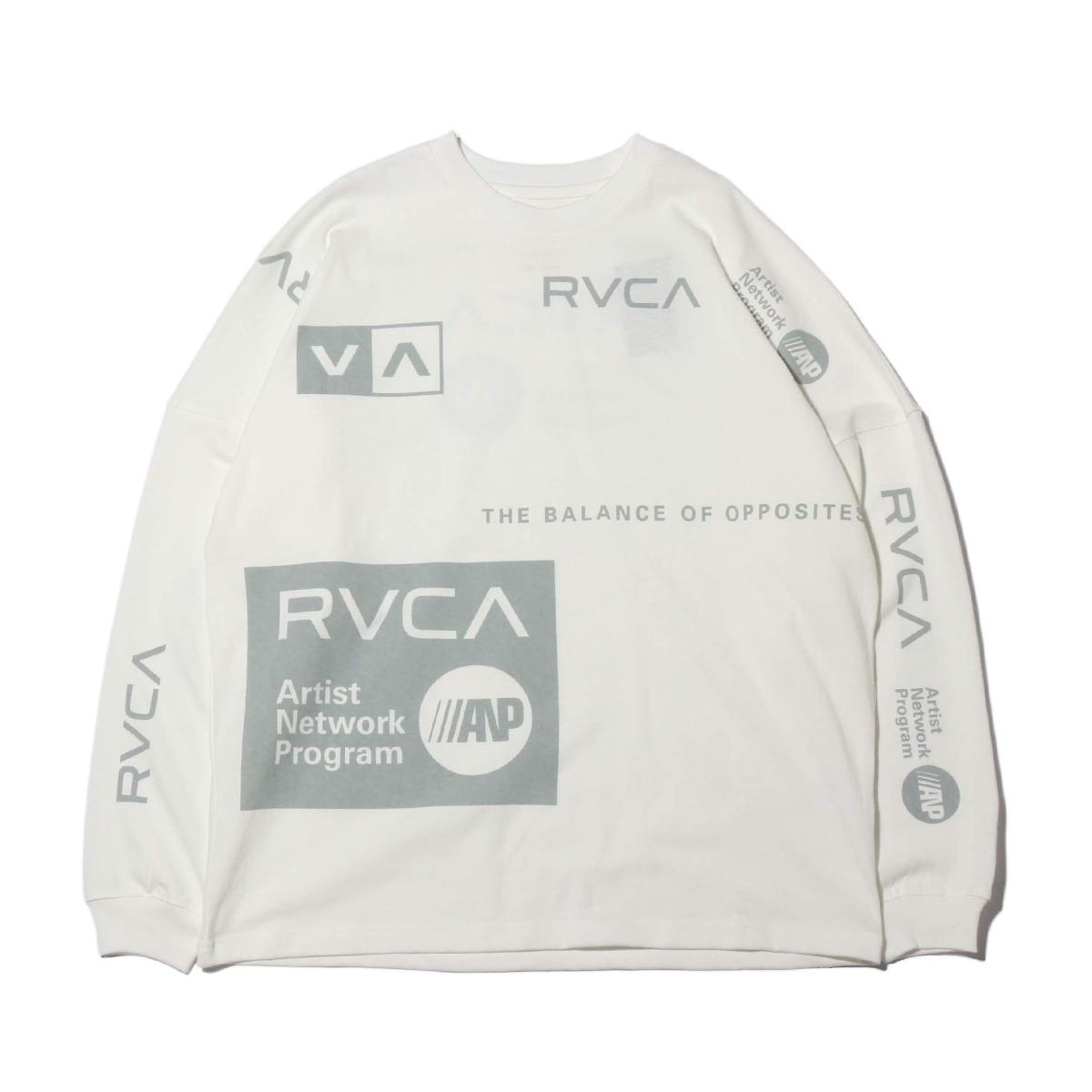 RVCA ALL OVER RVCA LT(ルーカ オールオーバー ルーカ ロングティー)WHITE【メンズ 長袖Tシャツ】19FW-I