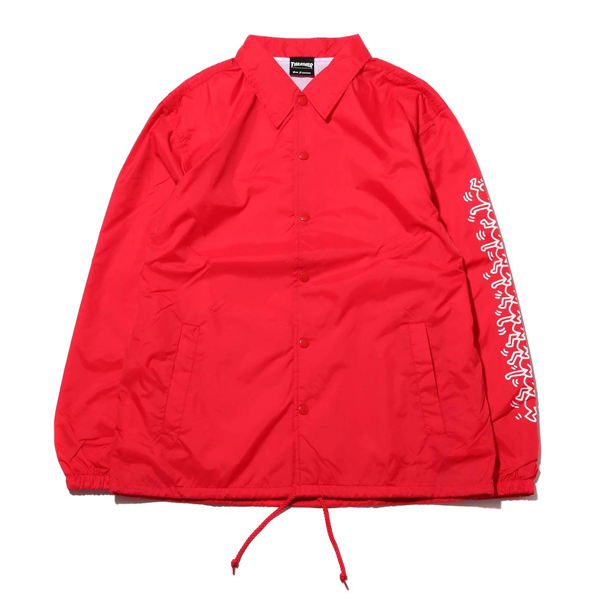 THRASHER x Keith Haring Coach Jacket (スラッシャー キースへリング コーチ ジャケット)RED【メンズ ジャケット】18FW-I