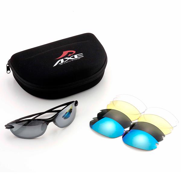 【あす楽対応】スポーツサングラス 交換レンズ5枚セット国内トップブランドアックス AS-350CS ゴルフ ジョギング マラソン ランニング サイクリング 自転車 メンズ レディース AS-375 AS-420 AS-440 個別にレンズを格納 お買い物マラソン