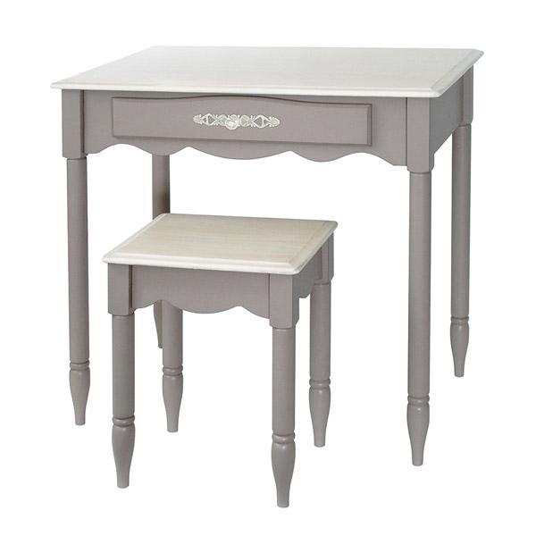 ドレッサー デスク テーブル グレージュ 新生活 セット 引き出し 椅子 引出し 机 寝室 幅75 ローテーブル チェア 高さ70 スツール 一人暮らし グレイッシュカラー おしゃれ グレー 化粧 インテリア フレンチシック 木製 家具 かわいい ガーリー 上品 組立式