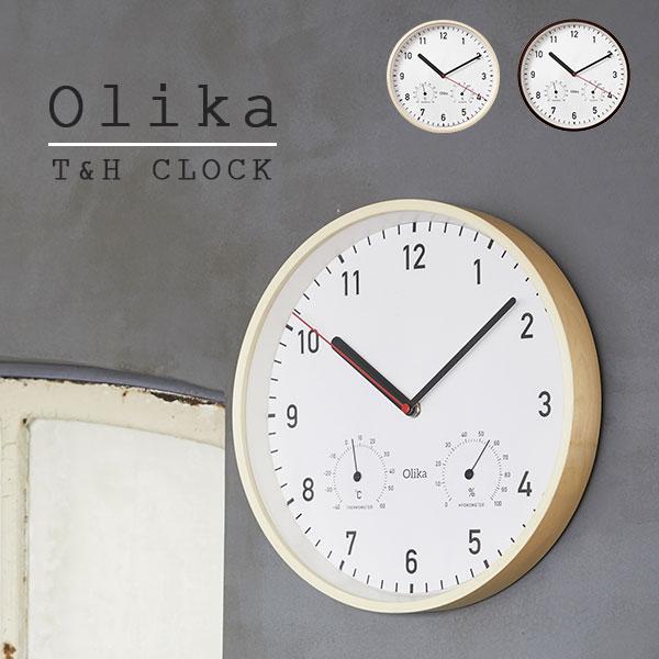 掛け時計 壁掛け時計 ウォールクロック 時計 ナチュラル 北欧 ウッドフレーム 温度計 湿度計 健康管理 デザイン Olika T&H CLOCK_Φ30.5cm NT BR ブラウン