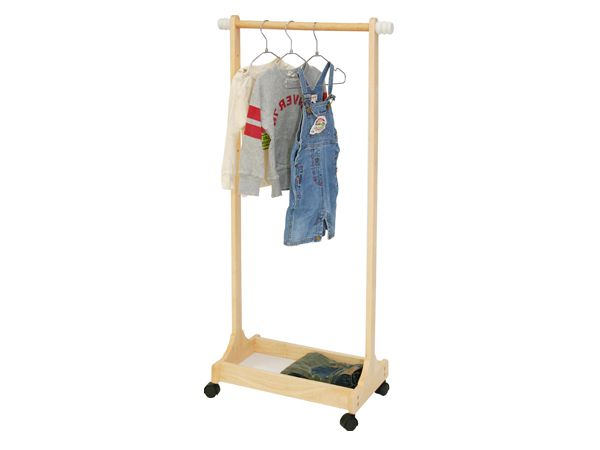 Hanger Rack Wooden Rack Fashionable Kids Storage Kids Child Childrens Kids Clothes Rack Casters Clothes Hanger Coat Hook Shelf Natural Kids Room