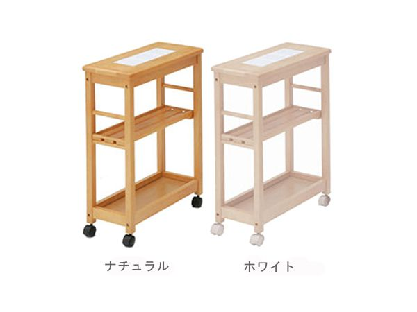 Kitchen Trolley With Casters Slim Tile Topped Three Stage Type Natural White Storage Country