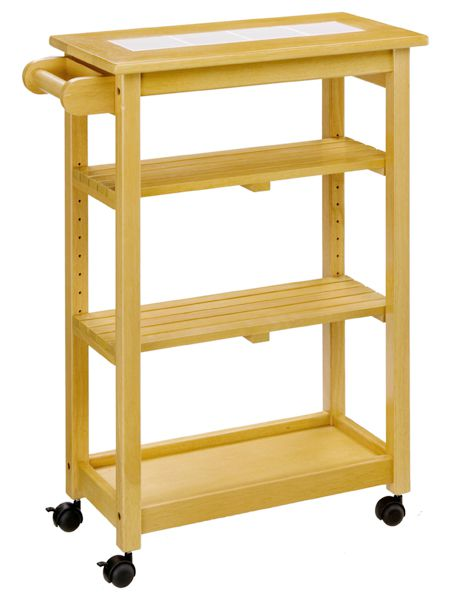 Exceptionnel Kitchen Trolley Slim Wagon Wheelie Natural Tile Top Natural Modern Wood  Caster Wagons Kitchen Storage Work Units Nordic Tile Top Casters Wagon Slim  Gap ...