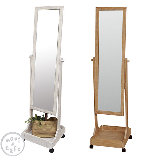 mirror stand. stand mirror with castors antique dispersal prevention processing casters wooden storage 45 cm in o