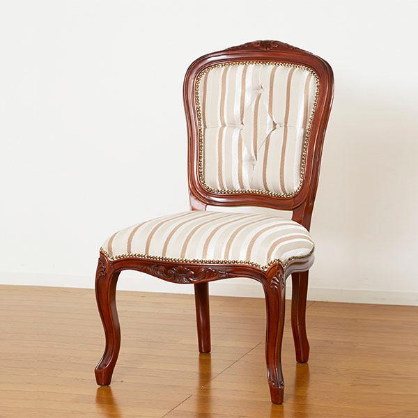 チェア アンティーク 猫脚 クラシック 椅子 ホテル ティータイム 彫刻 優雅 重厚感 肘なし ダイニングチェア エレガント 高級感 ストライプ柄 レトロ お客様用 手彫り ラグジュアリー ロココ 豪華 リラックス おもてなし