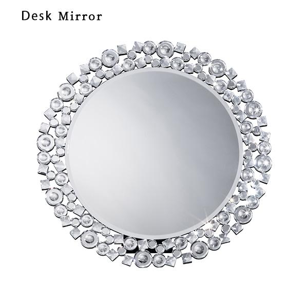 デスクミラー ミラー 鏡 丸 円形 クリスタル 卓上鏡 高級感 壁掛け鏡 かわいい 化粧鏡 新築祝い 1人暮らし 新生活 卓上 メイク直し 女性 おしゃれ 壁掛け メイク おすすめ スタイリッシュ リビング 化粧室 寝室