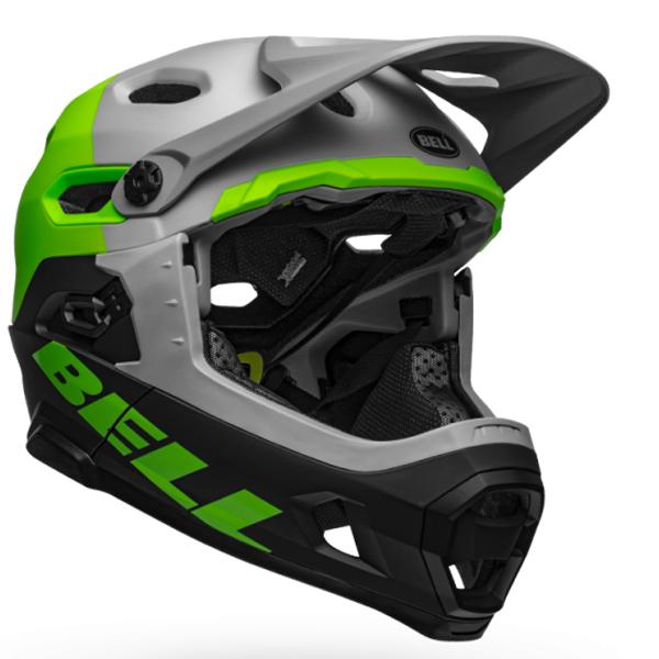 ベル フルフェイス ヘルメット スーパー DH ミップス BELL SUPER DH Mips グレー/グリーン/ブラック Lサイズ(58-62cm) 7101456