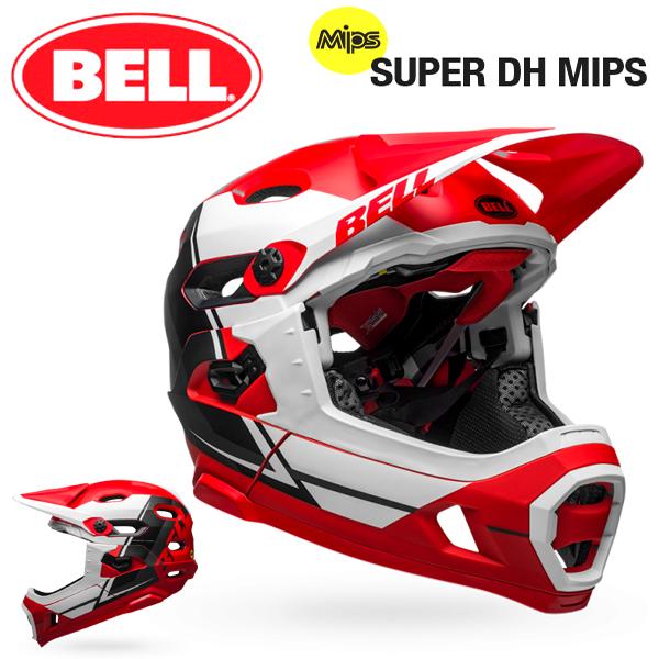 MTB ヘルメット BELL SUPER DH Mips (ベル スーパーDH ミップス) マットレッド/ホワイト/ブラックリコース Mサイズ(55-59cm)