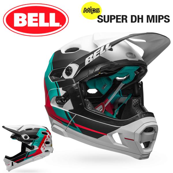 MTB ヘルメット BELL SUPER DH Mips (ベル スーパーDH ミップス) マットホワイトエメラルド/ハイビスカスリコース Mサイズ(55-59cm)