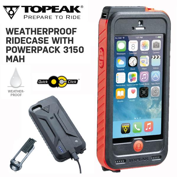 TOPEAK (トピーク) ウェザープルーフ ライドケース (パワーパック内蔵) セット RED BAG29804 スマホケース