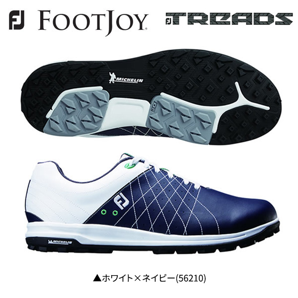 フットジョイ ゴルフ FJ トレッド レース 56210 ゴルフシューズ ホワイト×ネイビー FOOTJOY Treads Lace【フットジョイ】【ゴルフシューズ】