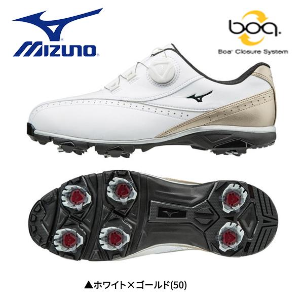 【幅4E】 ミズノ ゴルフ ワイドスタイル 002 ボア 51GQ1740 ゴルフシューズ ホワイト×ゴールド(50) MIZUNO WIDE STYLE 002 Boa【ミズノ】【ゴルフシューズ】