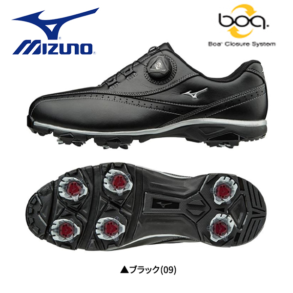 【幅4E/送料無料】 ミズノ ゴルフ ワイドスタイル 002 ボア 51GQ1740 ゴルフシューズ ブラック(09) MIZUNO WIDE STYLE 002 Boa【ミズノ】【ゴルフシューズ】