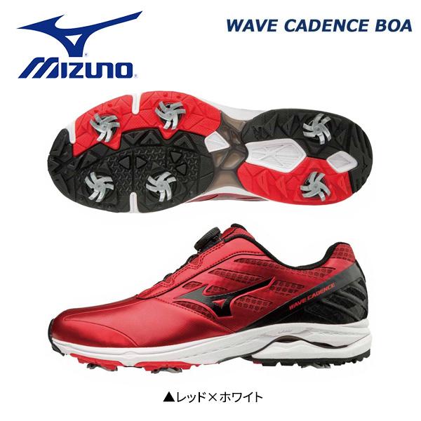【幅3E】 ミズノ ゴルフ ウェーブケイデンス ボア 51GM1870 ゴルフシューズ レッド×ホワイト(62) Mizuno WAVE CADENCE Boa【ミズノ】【ゴルフシューズ】