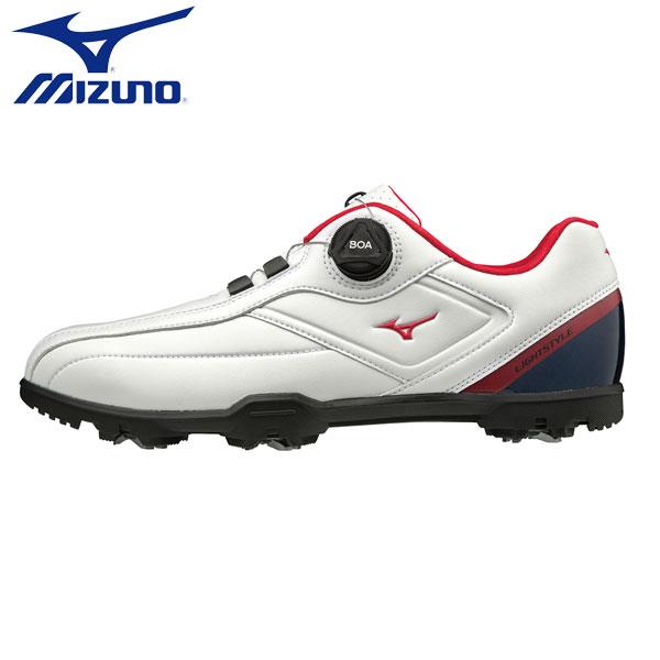 【幅3E】 ミズノ ゴルフ ライトスタイル 003 ボア 51GM1960 ゴルフシューズ ホワイト×ネイビー×レッド(14) MIZUNO【ミズノ】【ゴルフシューズ】