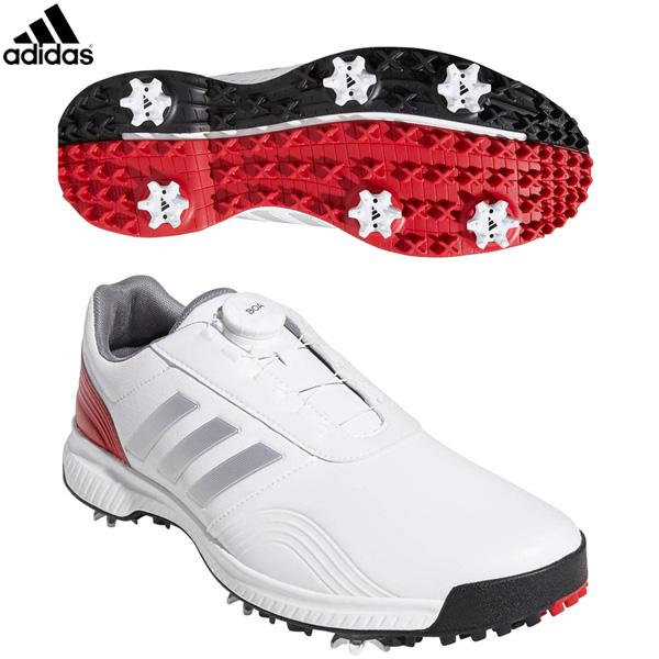 アディダス ゴルフ CP トラクション ボア BTE47 ゴルフシューズ ホワイト/シルバーメット/スカーレット adidas 29cm 30cm【アディダス】【ゴルフシューズ】