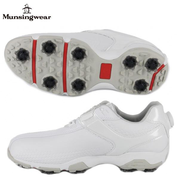 【幅3E】 マンシング ゴルフ MQ2NJA01 ダイヤル式スパイク ゴルフシューズ ホワイト(WH00) Munsingwear ヒールダイヤル【マンシング】【ゴルフシューズ】