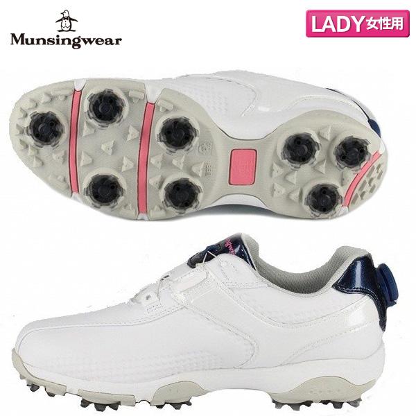 [土日祝も出荷可能]【レディース/送料無料】 マンシング ゴルフ MQ3NJA00 ダイヤル式スパイク ゴルフシューズ ホワイト×ネイビー(WHNV) Munsingwear ヒールダイヤル【マンシング】【ゴルフシューズ】【あす楽対応】