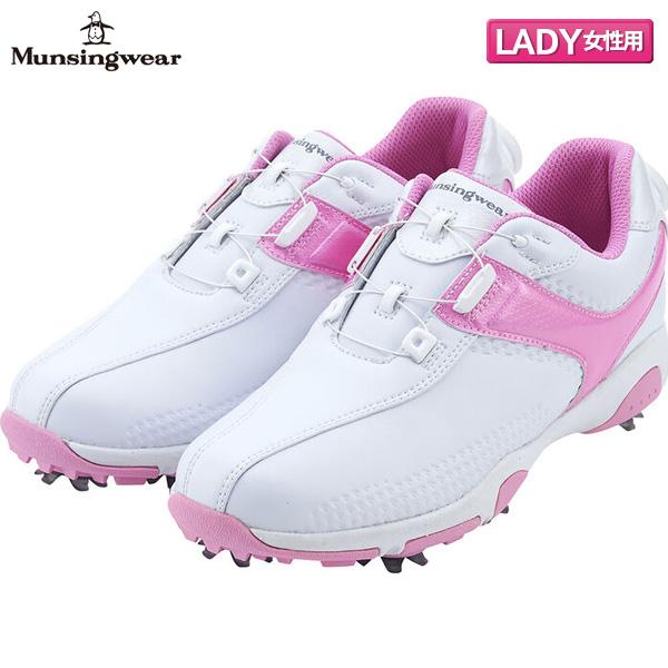 【レディース】 マンシング ゴルフ MQ3NJA01 ダイヤル式スパイク ゴルフシューズ ホワイト×ピンク(WHPK) Munsingwear ヒールダイヤル【マンシング】【ゴルフシューズ】