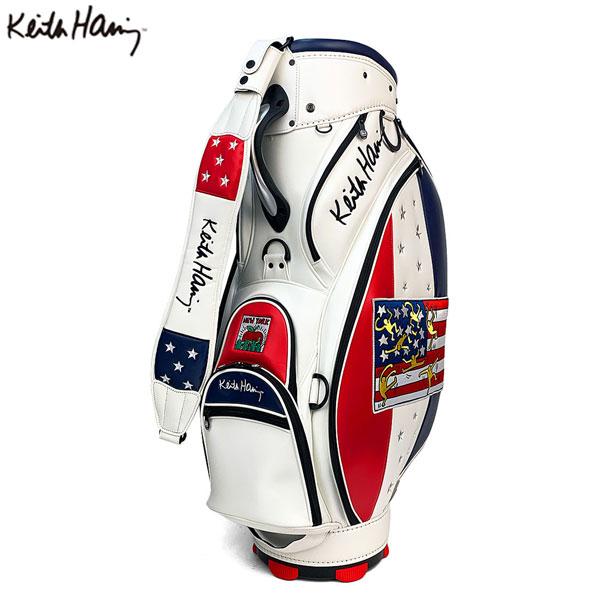 [土日祝も出荷可能]キースへリング ゴルフ KHCB-04 シグネチャー カート キャディバッグ ホワイト Keith Haring American flag × Pattern ゴルフバッグ【キースへリング】【キャディバッグ】【あす楽対応】