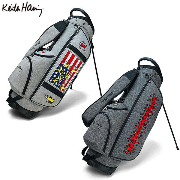 [土日祝も出荷可能]キースへリング ゴルフ KHCB-05 スタンド キャディバッグ ライトグレー,ダークグレー Keith Haring American flag×Sta, Star×Three eyed Face ゴルフバッグ【キースへリング】【キャディバッグ】【あす楽対応】