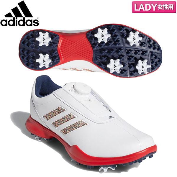 【レディース】 アディダス ゴルフ ドライバー ボア 3 EE9350 ソフトスパイク ゴルフシューズ ホワイト×スカーレット×カレジエイトネイビー adidas DRIVER BOA【アディダス】【ゴルフシューズ】