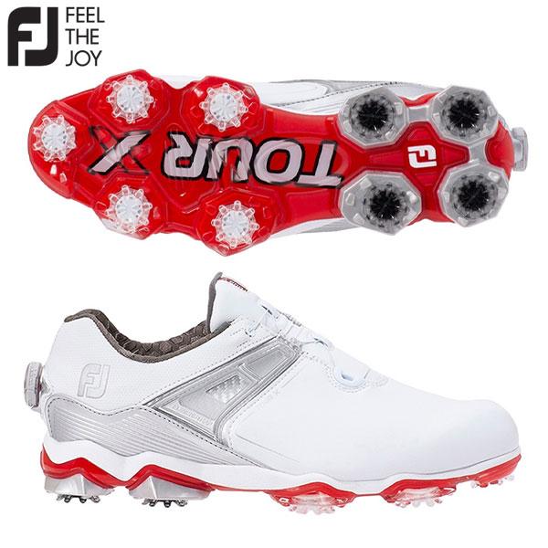 フットジョイ ゴルフ ツアーX ボア 55411 ゴルフシューズ ホワイト×レッド(55411) FOOTJOY TOUR X Boa