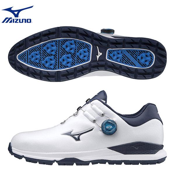 【幅4E】 ミズノ ゴルフ ジェネム010 51GQ2000 スパイクレス ボア ゴルフシューズ ホワイト×ネイビー(14) mizuno【ミズノジェネムゴルフシューズ】