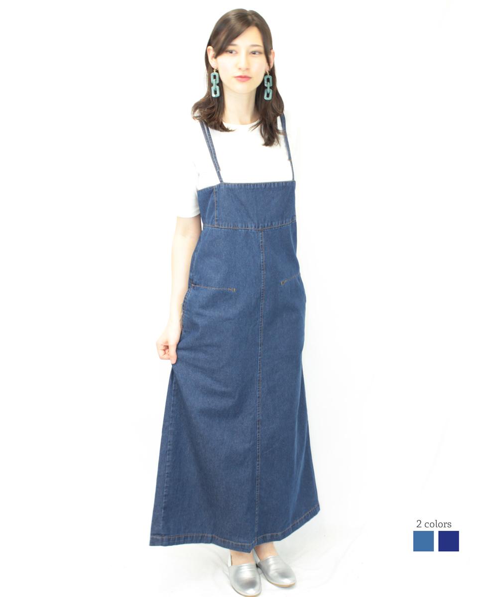 デニムジャンバースカート 綿100% オールインワン サロペット オーバーオール ゆったり リラックス デザイン 可愛い 大きいサイズ ビッグサイズ ビッグシルエット M LL L 未使用 インディゴ 日本最大級の品揃え XXL 青 ブルー ネイビー 4L XL 3L