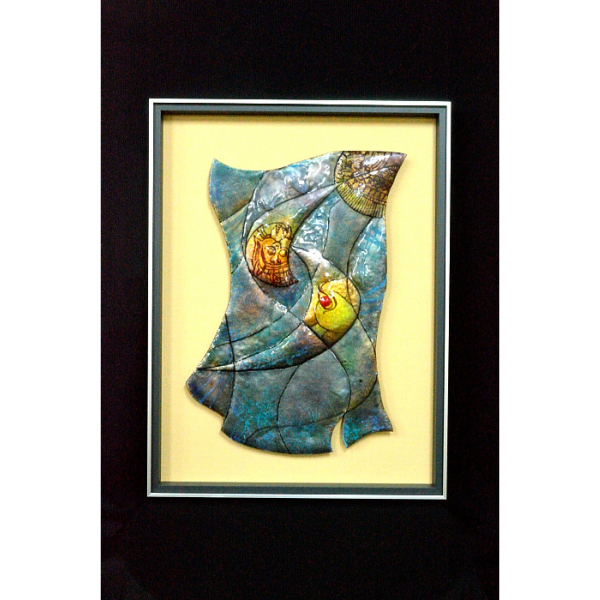 七宝焼き 七宝焼 工芸品 創作パネル「神々の住む島」一点モノ 手創り 彫金 あとりえしっぽう 大山阿津子作品