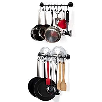 中古 輸入品 未使用未開封 Wall 再入荷 予約販売 Mount 41cm Cookware Pot Pan Lid 100%品質保証! Rack of with Set Rod S-Hooks Organiser Black 2 Kitchen 20