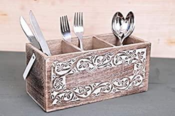 中古 輸入品 卓抜 未使用未開封 木製食器カトラリーホルダー キャディ フラットウェア 誕生日プレゼント 銀食器オーガナイザー