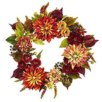 訳ありセール セール品 格安 中古 輸入品 未使用未開封 ほぼ自然ダリアママ ブラウン 22インチ Wreath オレンジ
